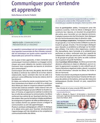 Communiquer pour s'entendre et apprendre - Résonances: Mensuel de l'Ecole valaisanne