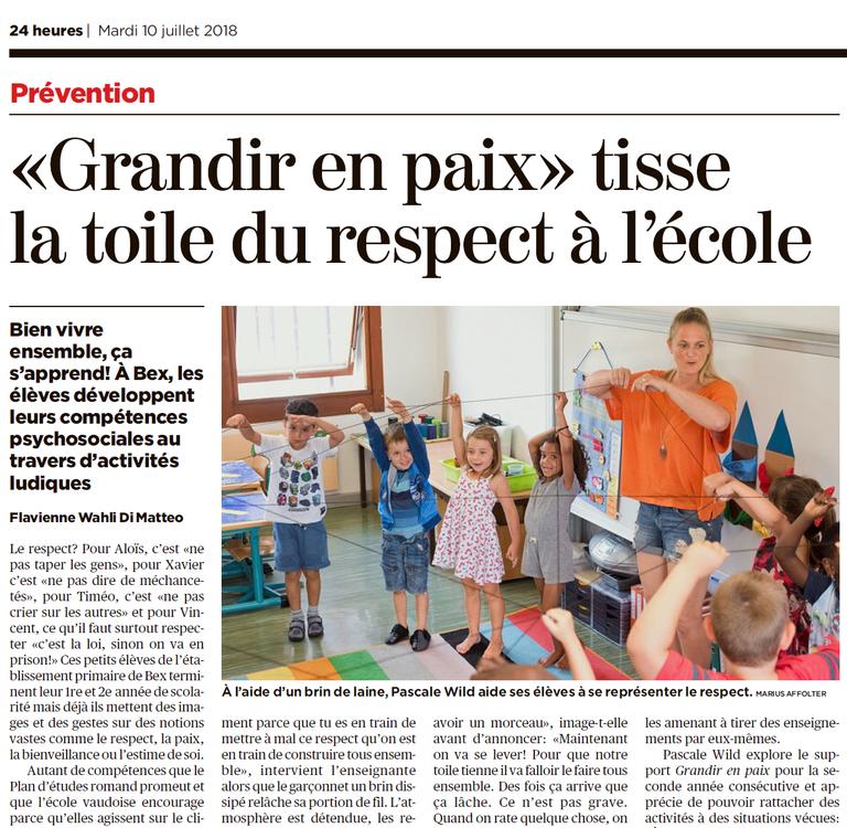"""""""Grandir en paix"""" et son impact sur le climat scolaire-24Heures, 10.7.2018"""
