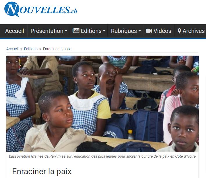 Nouvelles.ch - Zoom sur l'action de Graines de Paix en Côte d'Ivoire, 1/2015
