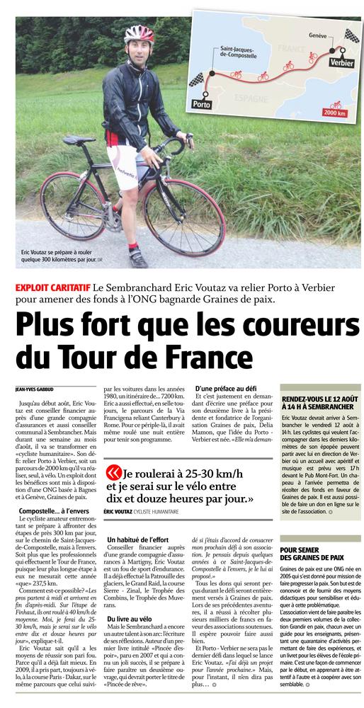 Le Nouvelliste - Un cycliste fait un exploit en faveur de Graines de Paix - 27 Juillet 2016